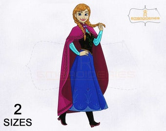 Stylish Princess Anna Frozen Machine Embroidery Design | 4x4 | 5x7 Hoop Embroidery Design | Princess Anna Embroidery Designs