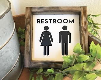 Mini Collection - RESTROOM // Bathroom Decor Sign // Farmhouse Sign // Wood Framed Sign // Farmhouse Style // Farmhouse Decor // Fixer Upper