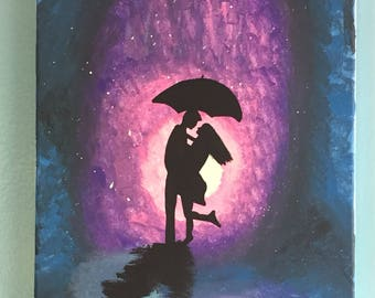 Man and woman in rain painting