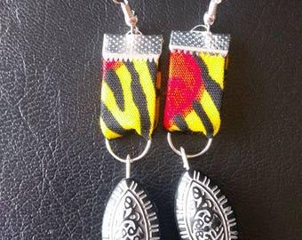 Wax and ethnic black pearl earrings