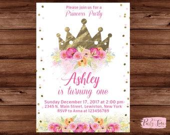 Gold crown invitation - Princess Invitation - Princess birthday invitation - Princess Crown Invitation - Crown invitation -