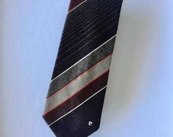 Retro Metallic Brown Striped Pierre Cardin Polyester Mens Tie Menswear Vintage Tie Necktie P Monogram Logo
