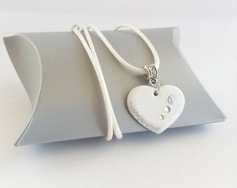 Kids Heart Necklace, necklace white child, teen heart necklace, daughter Heart Necklace, child gift, child heart pendant