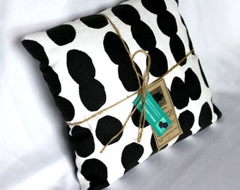 Hand Screen Printed Cushion - Black Dot Design on 100% White Cotton - Small Square 10 x 10 inches