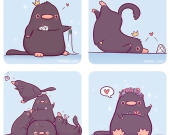 "Chubby Niffler Stickers and/or Mini Print Set (6x6"")"