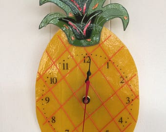 PINEAPPLE CLOCK, tropical, fused glass, yellow, green