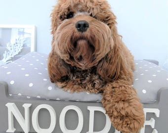 Polka Dot - Luxury Handmade Wooden Personalised Dog Bed
