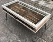 Printers Tray Coffee Table Glass Top Upcycled Reclaimed Wood Hairpin Legs By Wood  Broome