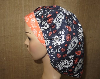 Blue Paisley with Coral Contrasting Band Bouffant Surgical Scrub Hat