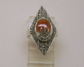 sterling silver carnelian marcasite ring #66