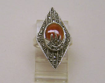 sterling silver carnelian marcasite ring #1005