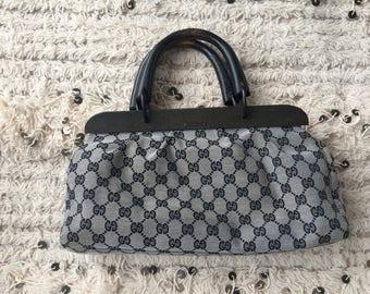 Vintage GUCCI GG MONOGRAM Black Canvas Wood Handles satchel purse handbag clutch