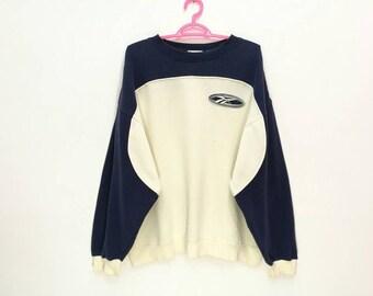 Rare!! Vintage Reebok Big Logo Embroidery Pullover Jumper Sweatshirt