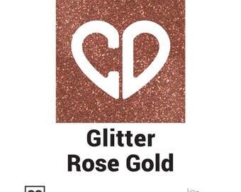 """Siser Glitter Heat Transfer Vinyl (HTV) - 20""""x12"""" Rose Gold, Heat Vinyl Transfer, Glitter Iron On Vinyl, Heat Press Vinyl Sheets, Iron Vinyl"""