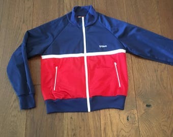 Wilson Vintage Tennis Warm Up Track Jacket Original 90's Vintage FILA NIKE ADIDAS Royal Tennenbaum's Style Size Small