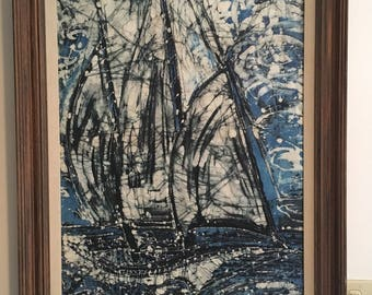 """Sailboat I- by Lisa Martin, An original 24"""" x 32"""" hand quilted batik wall hanging in 31"""" x 39"""" frame"""