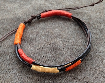 man red brown leather bracelet brick orange yellow made adjustable hand gift