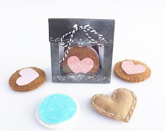 Felt Sugar Cookies. Pretend Play Cookie Set . Set of 4 Felt Cookies . Felt Food