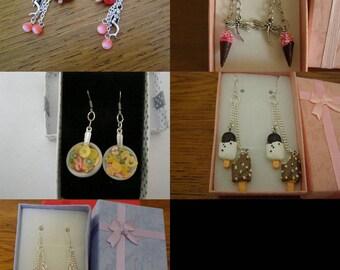 Choose pair of dangle earrings, ice, fruit salad, Lollipop, kitty
