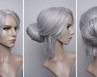 Made to order: Ciri cosplay wig witcher wild hunt grey silver