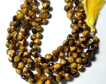 """High Quality Natural Tiger Eye Onion Shape Faceted Briolette Beads 8 MM Size AAA+++ Quality 8 """"inch Long Strand Semi Precious Beads Gemstone"""