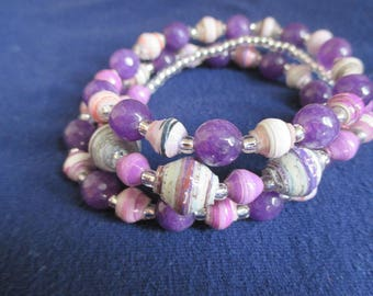 African Purple Paper Bead and Purple Agate Bracelet