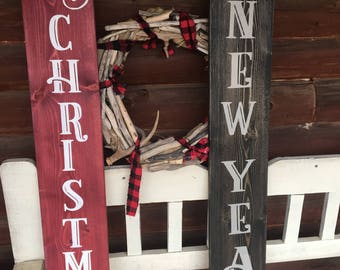 CHRISTMAS PORCH SIGN/Merry Christmas Porch/Christmas Decor/Porch Decor/Rustic Holiday Decor/Reversible Sign/Two Sided Sign/New Years Decor