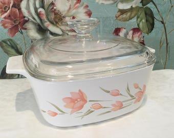 Vintage Corningware 1.5L 'Peach Floral' Casserole Dish & Lid