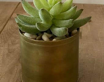 Small metal container(brass looking) with faux succulent in rocks