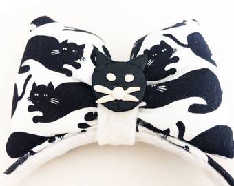 Black Cat Headband - Puffy hair bow