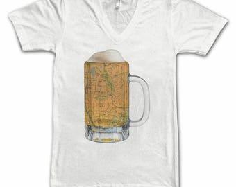 Ladies  Bronx NY Map Beer Mug Tee, Vintage City Maps Beer Mug Tees, Beer T-Shirt, Beer Thinkers, Beer Lovers, Cities, Beer Lover Tees