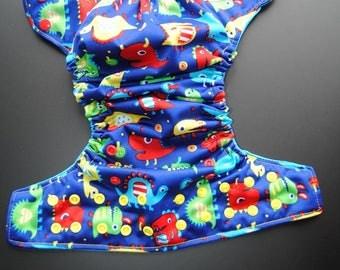 Blue Monster Pocket diaper
