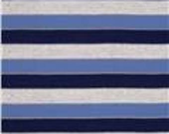 END OF BOLT - 1 Yard - Designer Yarn Dyed Jersey Knit Stripe Navy/Beige/Blue - Jersey Knit Fabrics - Sewing