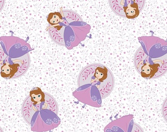 Poses in White - Sofia the First by Camelot Design Studio from Camelot Fabrics - Sofia the First Fabrics - Disney Fabrics