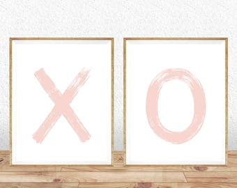 XO Print, xo art, Nursery Decor, Wall prints, Typography art, Printable art, Hugs and Kisses, Minimalist Print, wall art, Instant download