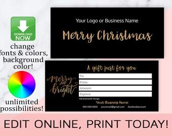 Christmas Gift Cards,Christmas Gift Certificates,Gift Card Template,Editable,Printable,LipSense,Distributor,Photographer,INSTANT DOWNLOAD