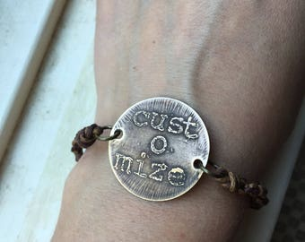 etched brass custom charm bracelet