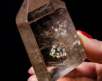 Best Clear Rainbow Smoky Citrine Quartz Crystal Point/Citrine Crystal Tower/Healing Crystal/Obelisk/Mineral Specimen/Gift for Her/Reiki#3896
