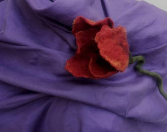felted flower corsage pin brooch hand made, felted wool flower, art to wear flower