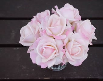 Faux Flower Arrangement, Pink Rose, Real Touch, Floral Arrangement, Clear Vase