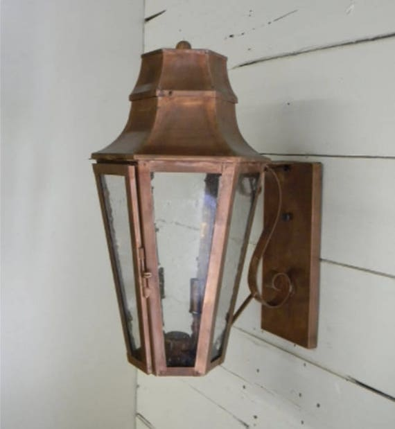 Copper Lantern Pendant Lighting Copper Light Fixture Rustic Light Outdoor Lantern Gas or Electric Lantern Vintage Antique Lantern Broughton