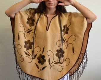 70s Embroidered Floral Fringe Poncho