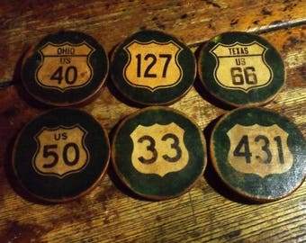6 Highway Shield Custom Wood Coasters