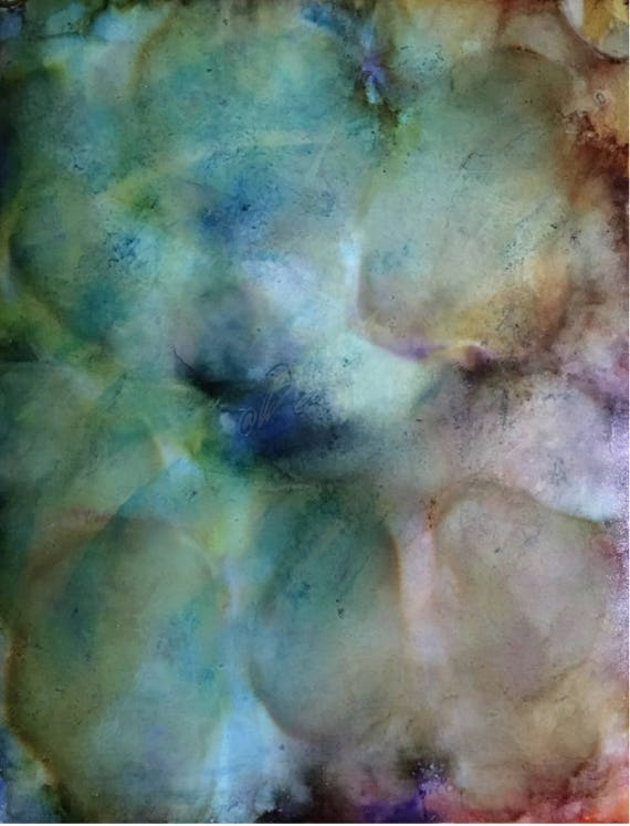 "Original Alcohol Ink (Mixed Media) Abstract Painting: ""Stonepath"" (11"" X 14"")"