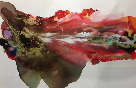 """Large Original Alcohol Ink Abstract: """"Fly Away With Me"""" (23"""" x 35"""")"""