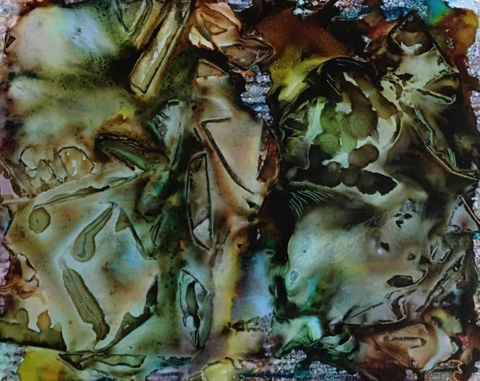 "Large Original Alcohol Ink Abstract: ""Authority"" (26 1/2"" x 31 1/2"")"
