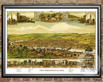 New Brighton, Pennsylvania Art Print From 1883 - Digitally Restored Old New Brighton, PA Map Poster-Perfect For Fans Of Pennsylvania History