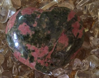 Unakite puffy heart 2 x 2 x 1/2""