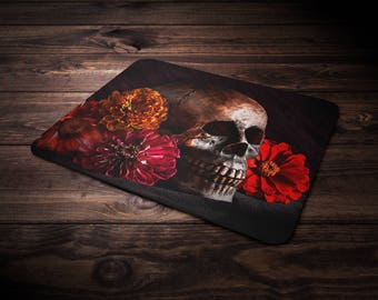 Day of the Dead Mouse Pad, Floral Skull, Dia de Muertos, Goth Mousepad, Gothic Computer Accessory, Macabre Decor, Creepy, Eerie, Dark Art