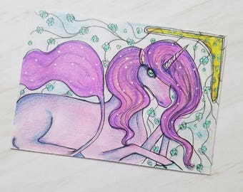 Original Pink Unicorn Fantasy Drawing